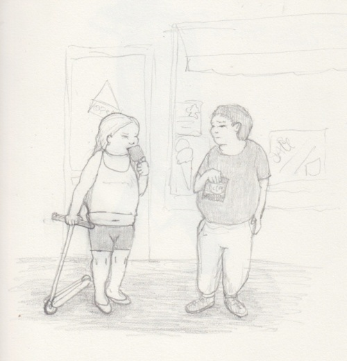 Fat kids on the pavement.